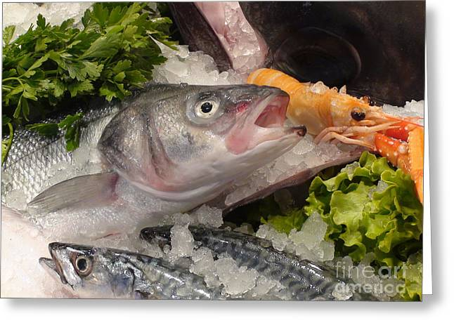 Talking Fish Greeting Cards - Fresh Seafood Greeting Card by Debra Chmelina