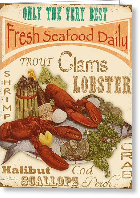 Red Wine Prints Digital Art Greeting Cards - Fresh Seafood Greeting Card by Jean Plout