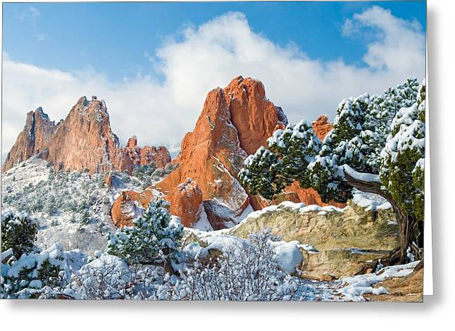 Manitou Springs Greeting Cards - Fresh Snow at the Garden Greeting Card by John Hoffman
