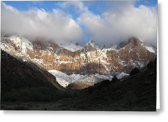 Photograph Greeting Cards - Fresh Snow on Zion Cliffs Greeting Card by Nathan Marcy