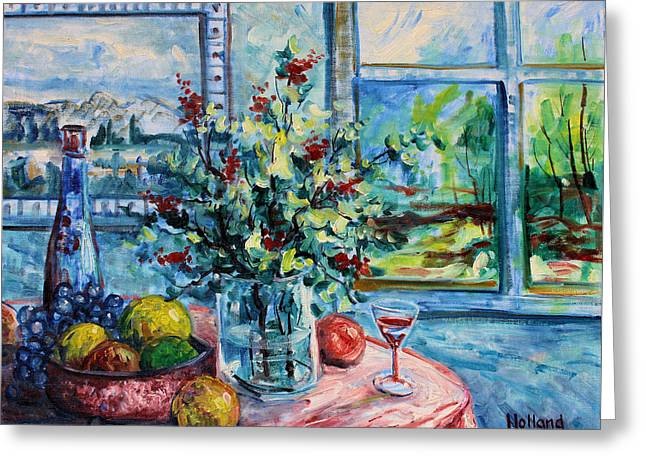 Glass Table Reflection Paintings Greeting Cards - Fresh Spring Greeting Card by Leonard Holland