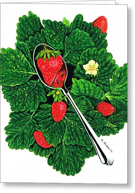 Strawberry Paintings Greeting Cards - Fresh Strawberries - Fruit Art - By Sharon Cummings Greeting Card by Sharon Cummings