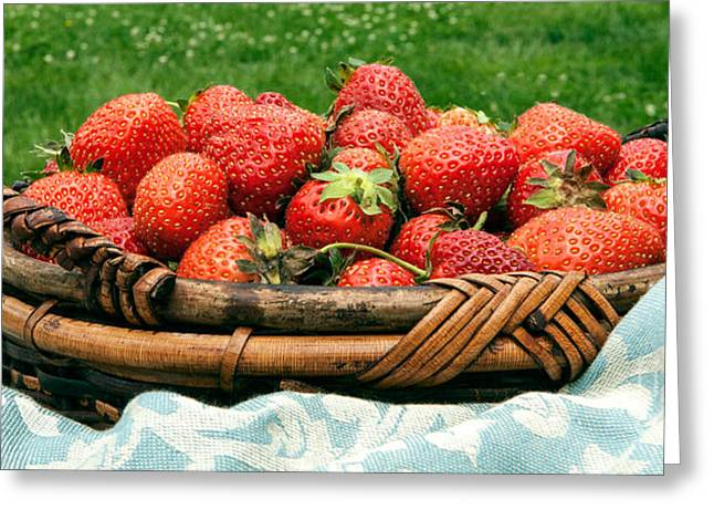 Fresh Strawberries In Basket Greeting Card by Iris Richardson