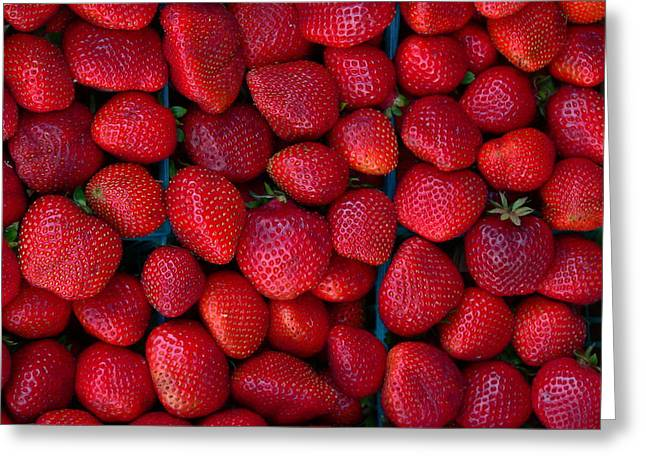Green Beans Greeting Cards - Fresh Strawberries Greeting Card by Jeff Lowe