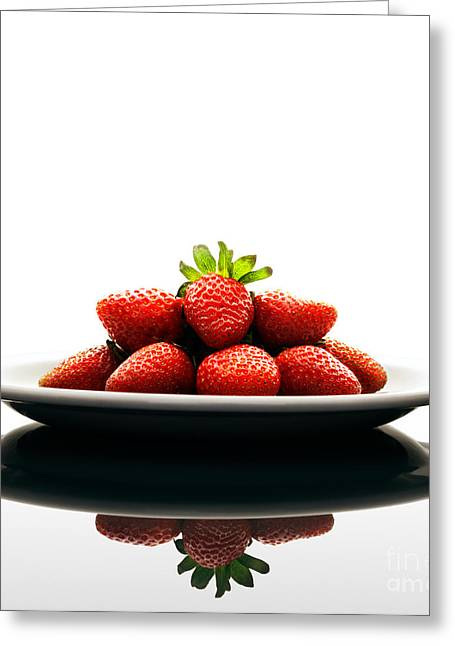 Healthy Greeting Cards - Fresh strawberries on Plate Greeting Card by Johan Swanepoel