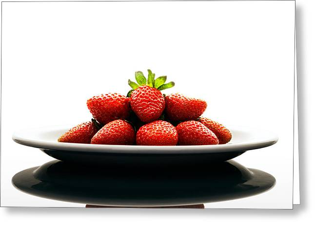 Strawberries Greeting Cards - Fresh strawberries on Plate Greeting Card by Johan Swanepoel