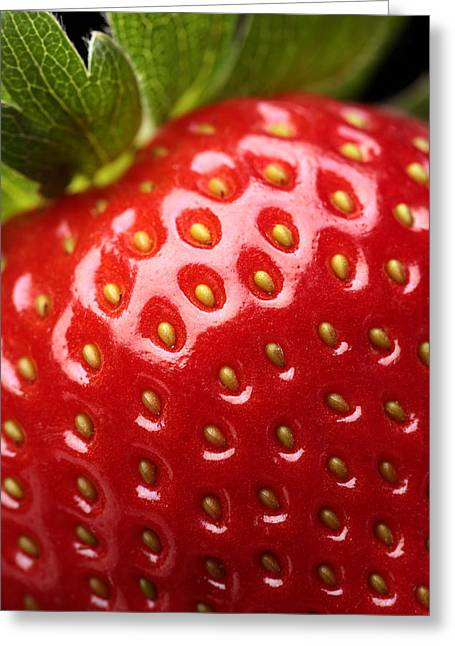 Strawberries Greeting Cards - Fresh strawberry close-up Greeting Card by Johan Swanepoel