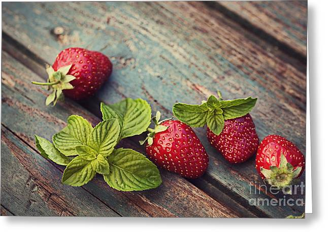 Strawberry Jam Greeting Cards - Fresh strawberry Greeting Card by Mythja  Photography