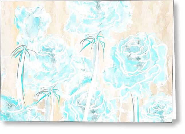 Blue Flowers Greeting Cards - Fresh Summer- Cream And Aqua Art Greeting Card by Lourry Legarde