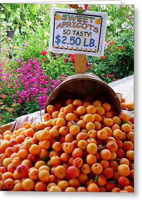 Baskets Of Strawberries Greeting Cards - Fresh Sweet Apricots Greeting Card by Jeff Lowe