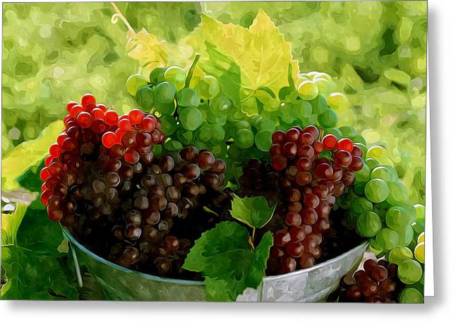 Viticulture Paintings Greeting Cards - Fresh sweet grapes Greeting Card by Lanjee Chee