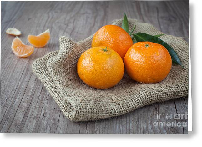 Tangerines Greeting Cards - Fresh Tangerine Greeting Card by Sabino Parente