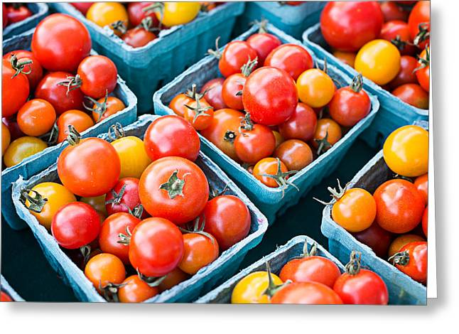 Fresh Picked Fruit Greeting Cards - Fresh Tomatoes Square Format Greeting Card by Edward Fielding