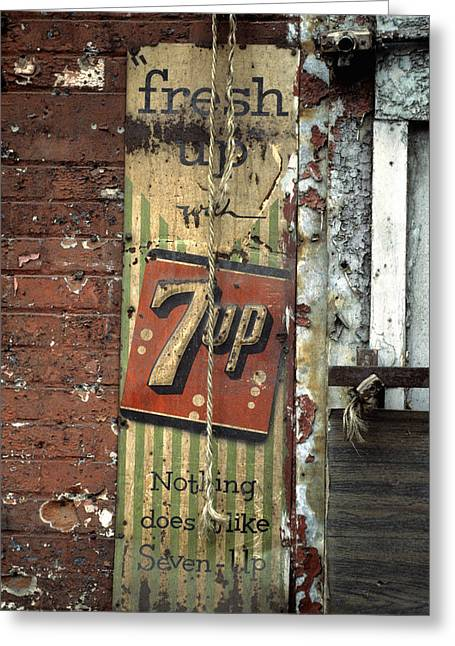 7up Sign Greeting Cards - Fresh Up with 7up Greeting Card by Marcy Gold