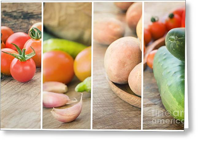 Mythja Greeting Cards - Fresh Vegetables collage Greeting Card by Mythja  Photography
