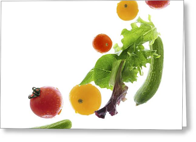 Drop Greeting Cards - Fresh vegetables flying Greeting Card by Elena Elisseeva