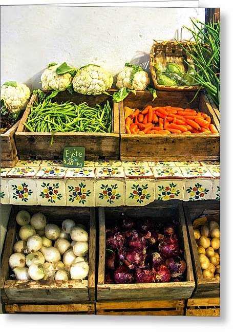 Grocery Store Greeting Cards - Fresh Vegetables Greeting Card by Lindley Johnson