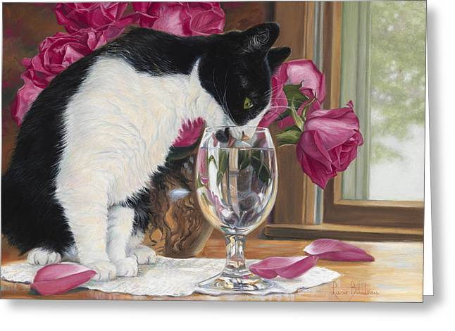 Domestic Cat Greeting Cards - Fresh Water Greeting Card by Lucie Bilodeau