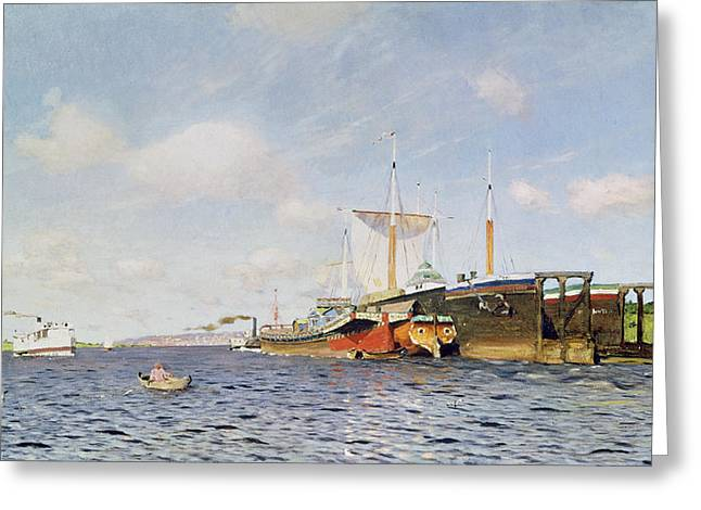 Docked Sailboats Greeting Cards - Fresh Wind on the Volga Greeting Card by Isaak Ilyich Levitan