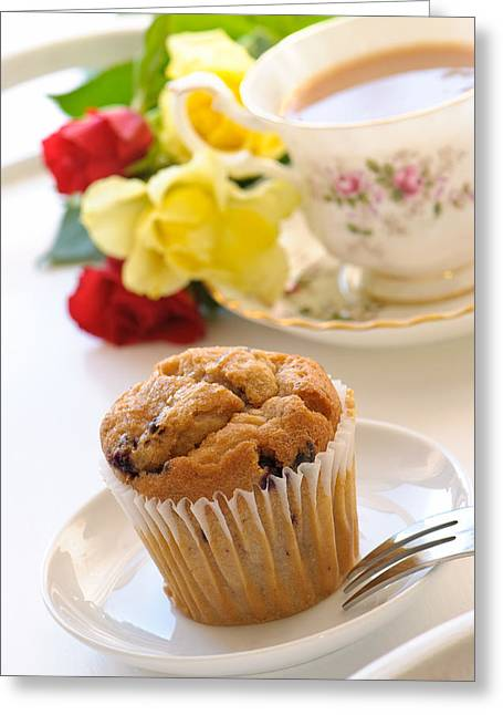 Freshly Baked Muffin With Tea Greeting Card by Amanda And Christopher Elwell