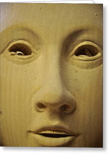 Woodcarving Greeting Cards - Freshly carved face Greeting Card by Matt MacMillan