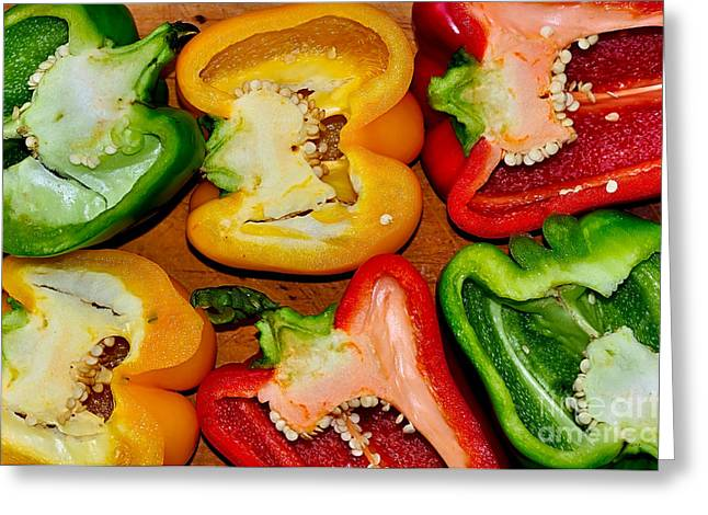 Inside Of Greeting Cards - Freshly Cut Bell Peppers - Capsicum Greeting Card by Kaye Menner