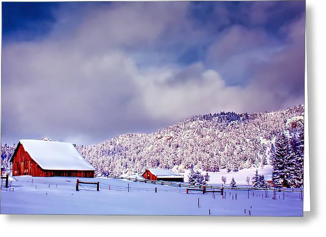 Barn Covered In Snow Greeting Cards - Freshly Fallen Snow on the Ranch Greeting Card by Teri Virbickis