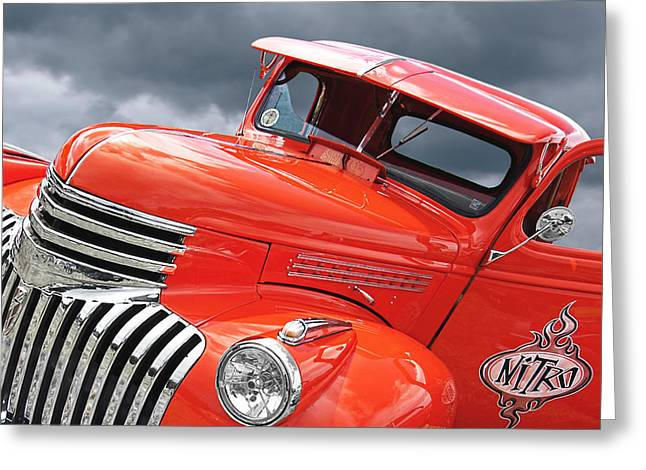 Chevrolet Pickup Truck Greeting Cards - Freshly Squeezed - 1945 Orange Chevy  Greeting Card by Gill Billington
