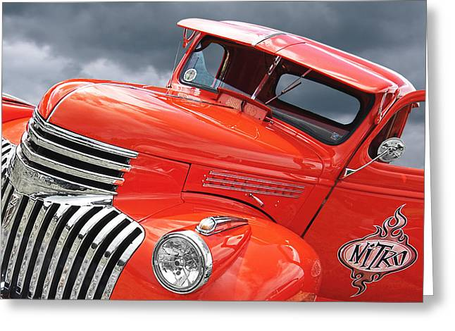Restos Greeting Cards - Freshly Squeezed - 1945 Orange Chevy  Greeting Card by Gill Billington