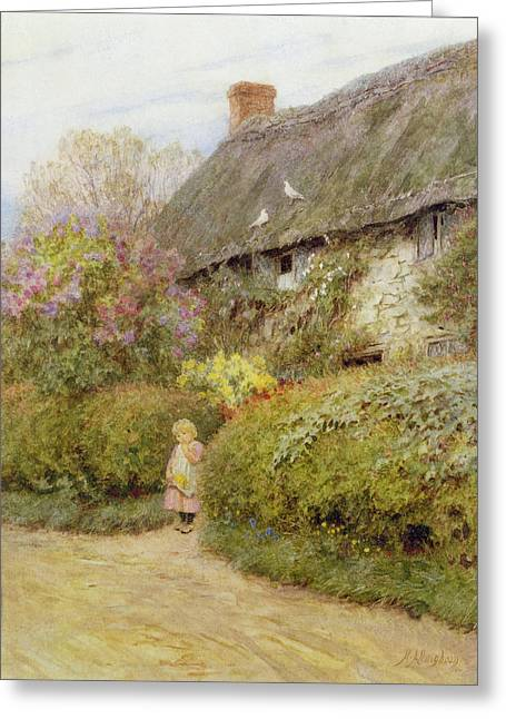 Thatch Greeting Cards - Freshwater Cottage Wc On Paper Greeting Card by Helen Allingham