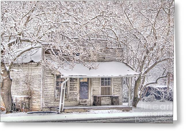 Snow-covered Landscape Greeting Cards - Freshwater Grocery Greeting Card by Benanne Stiens