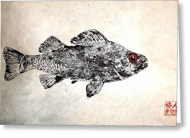 Gyotaku Greeting Cards - Freshwater Perch Greeting Card by David Syers