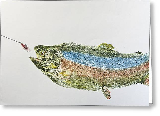 Nancy Gorr Greeting Cards - Freshwater Rainbow Trout With Fly Greeting Card by Nancy Gorr