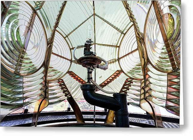 Fresnel Lens And Lamp Greeting Card by Dr Juerg Alean