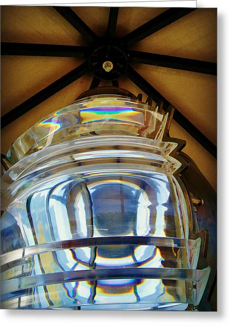 Pottawatomie Greeting Cards - Fresnel Lens Replica - Pottawatomie Lighthouse at Rock Island Greeting Card by Carol Toepke