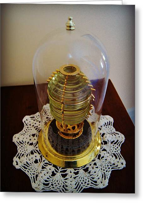 Pottawatomie Greeting Cards - Fresnel Lens Replica in Tower of  Pottawatomie Lighthouse Museum on Rock Island Greeting Card by Carol Toepke