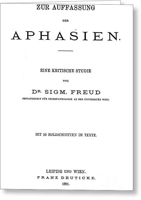 Freud Greeting Cards - Freud: Aphasia, 1891 Greeting Card by Granger