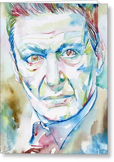 Freud Greeting Cards - Freud Lucian Watercolor Portrait Greeting Card by Fabrizio Cassetta