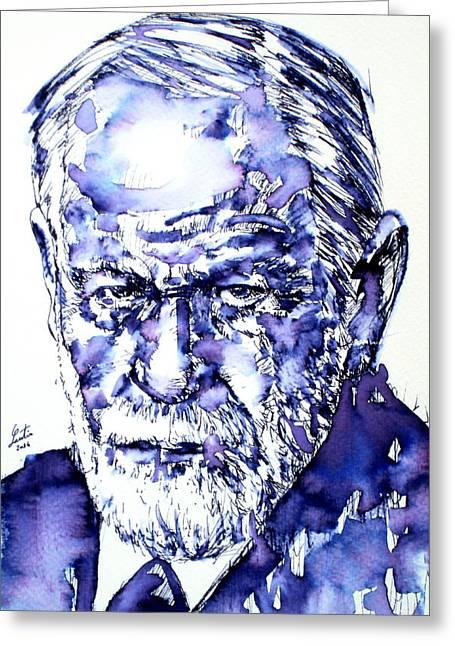 Freud Greeting Cards - Freud Sigmund -  Portrait.3 Greeting Card by Fabrizio Cassetta