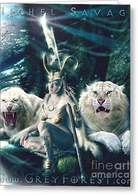 Warrior Goddess Digital Art Greeting Cards - Freya Greeting Card by Michel Savage