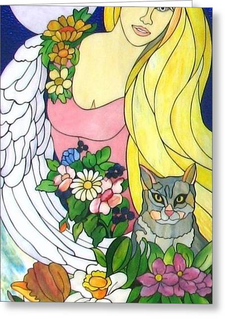 Woman Glass Art Greeting Cards - Freya Greeting Card by Suzanne Tremblay