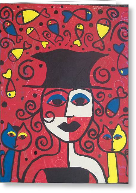 Folk Pyrography Greeting Cards - Frida and cats Greeting Card by Kerri Ambrosino GALLERY