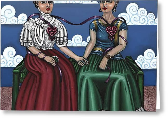 Frida Beside Myself Greeting Card by Victoria De Almeida