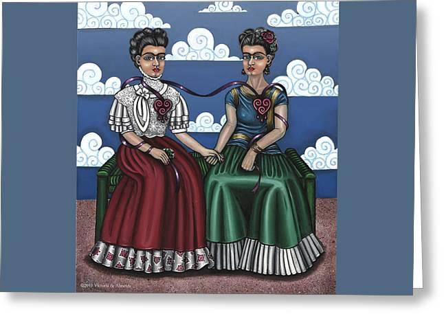 Hispanic Art Greeting Cards - Frida Beside Myself Greeting Card by Victoria De Almeida