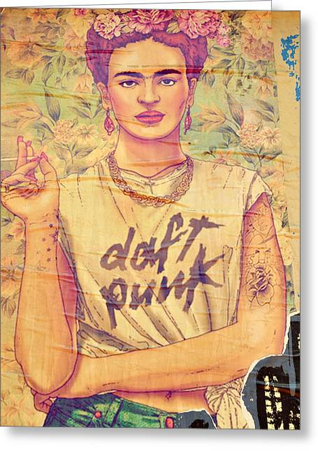 Daft Punk Greeting Cards - Frida Daft Punk Greeting Card by Gizem Guvenc