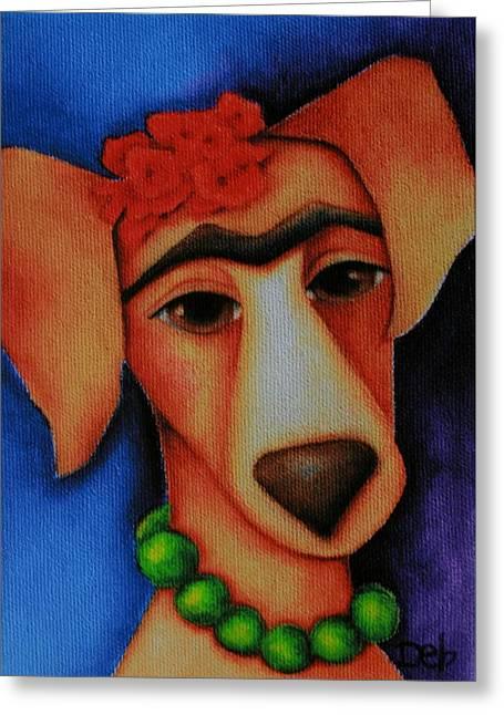 Unibrow Greeting Cards - Frida Dog Greeting Card by Deb Harvey