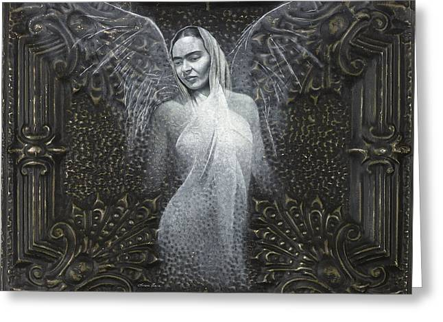 Spiritual Art Reliefs Greeting Cards - Frida Guardian of the Arts Greeting Card by Lorena Rivera