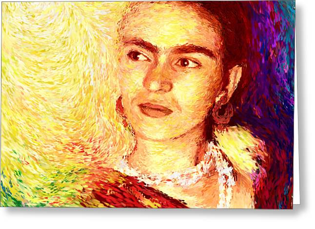 Protest Mixed Media Greeting Cards - Frida in Color of Joy Greeting Card by Shubnum Gill