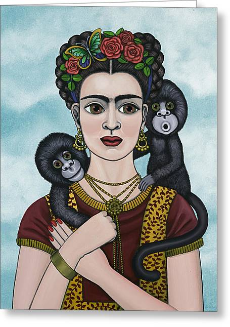 Shinas Greeting Cards - Frida In The Sky Greeting Card by Victoria De Almeida
