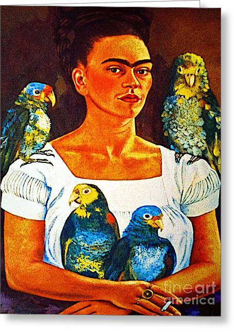 Murals Greeting Cards - Frida in Tlaquepaque Greeting Card by Olden Mexico